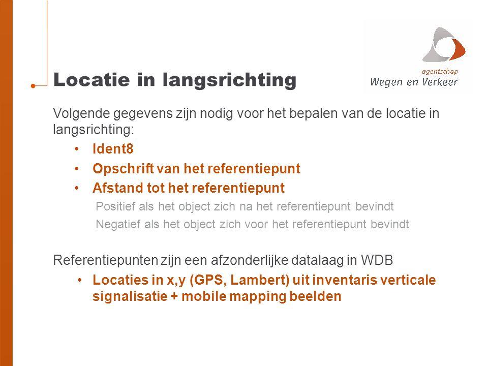 Locatie in langsrichting Volgende gegevens zijn nodig voor het bepalen van de locatie in langsrichting: Ident8 Opschrift van het referentiepunt Afstan