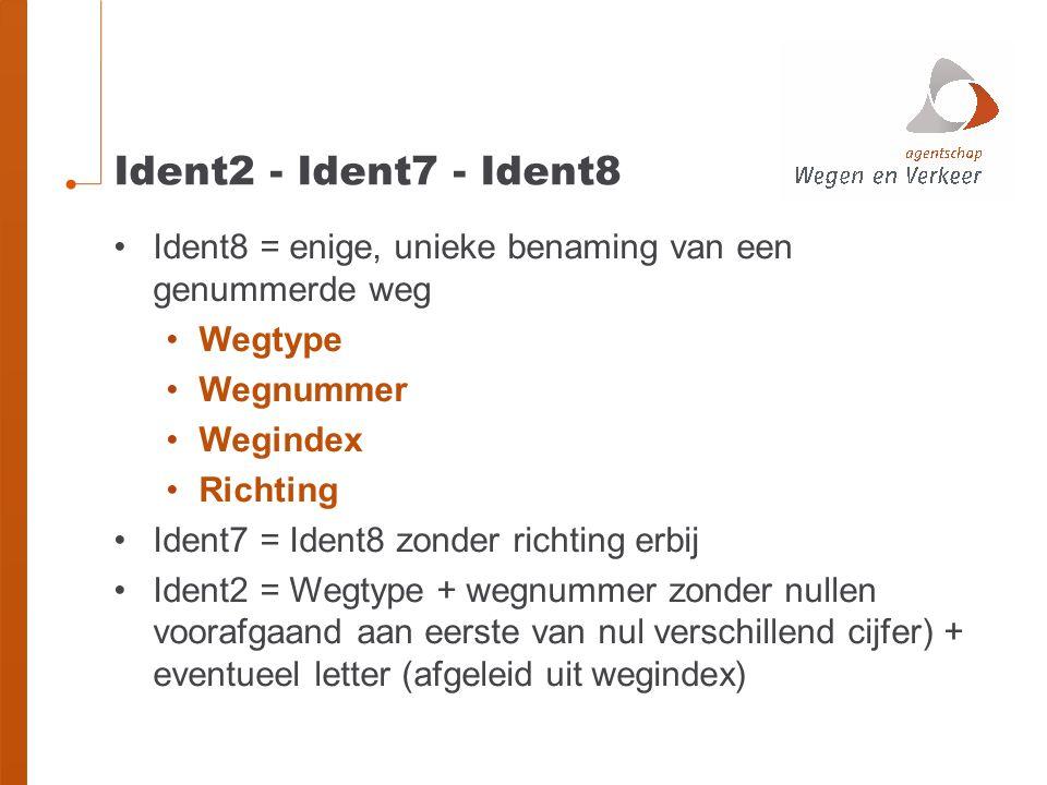 Ident2 - Ident7 - Ident8 Ident8 = enige, unieke benaming van een genummerde weg Wegtype Wegnummer Wegindex Richting Ident7 = Ident8 zonder richting er