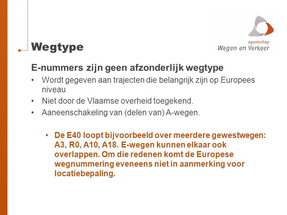 Wegtype E-nummers zijn geen afzonderlijk wegtype Wordt gegeven aan trajecten die belangrijk zijn op Europees niveau Niet door de Vlaamse overheid toeg