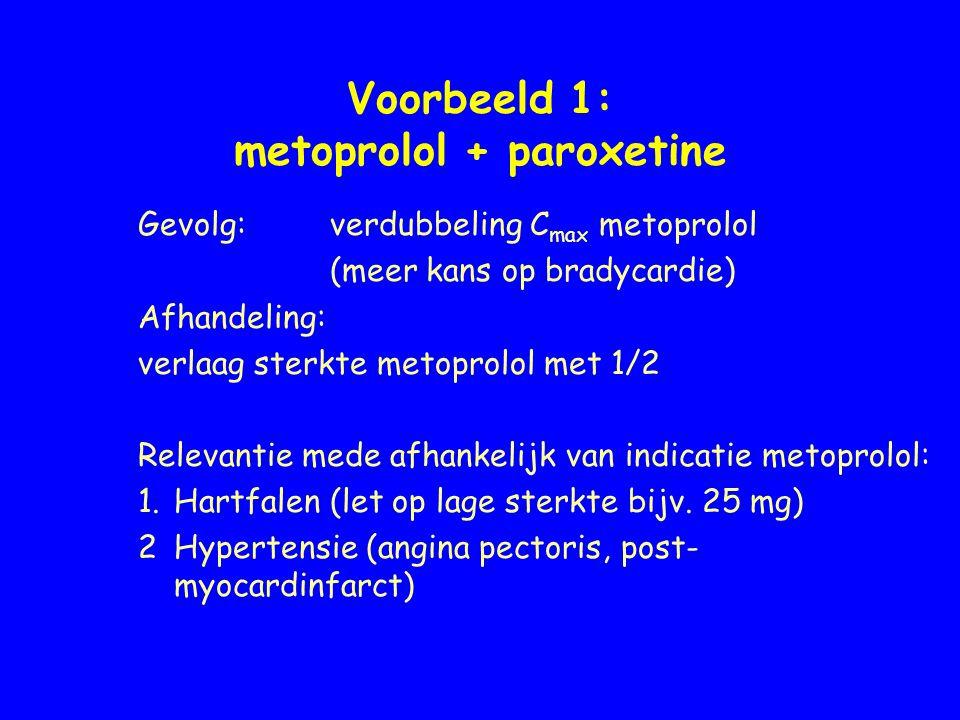Voorbeeld 1: metoprolol + paroxetine Gevolg: verdubbeling C max metoprolol (meer kans op bradycardie) Afhandeling: verlaag sterkte metoprolol met 1/2