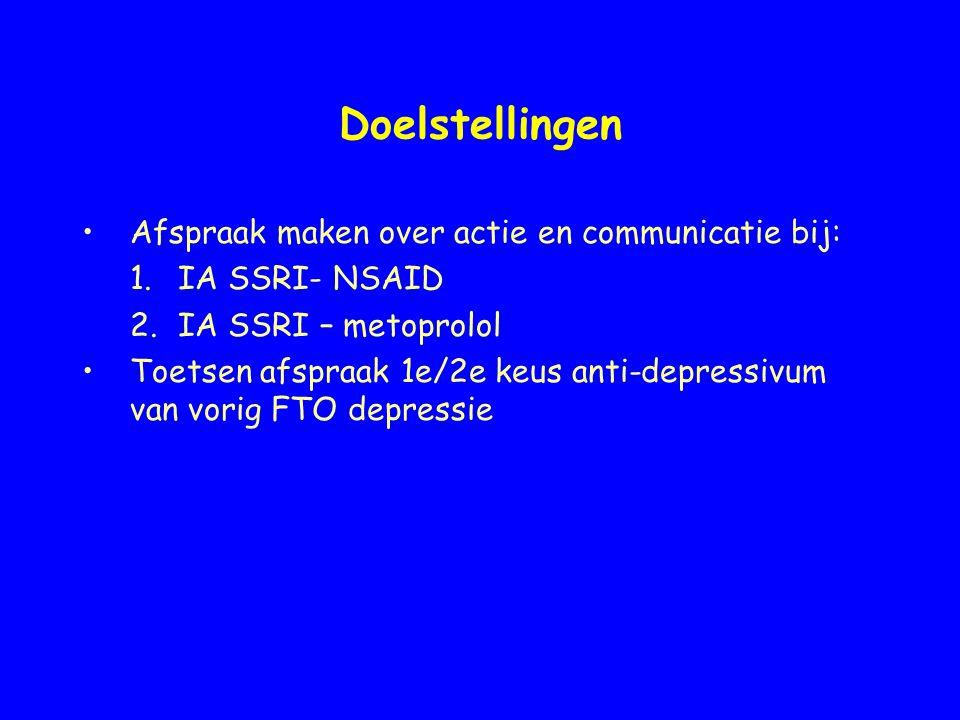 Doelstellingen Afspraak maken over actie en communicatie bij: 1.IA SSRI- NSAID 2.IA SSRI – metoprolol Toetsen afspraak 1e/2e keus anti-depressivum van