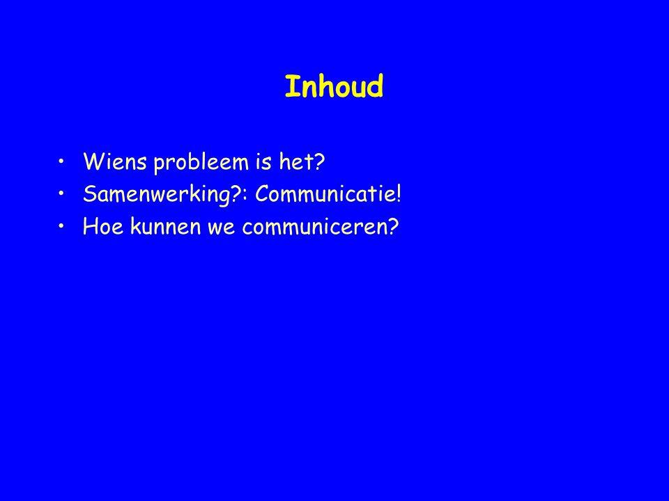 Inhoud Wiens probleem is het? Samenwerking?: Communicatie! Hoe kunnen we communiceren?