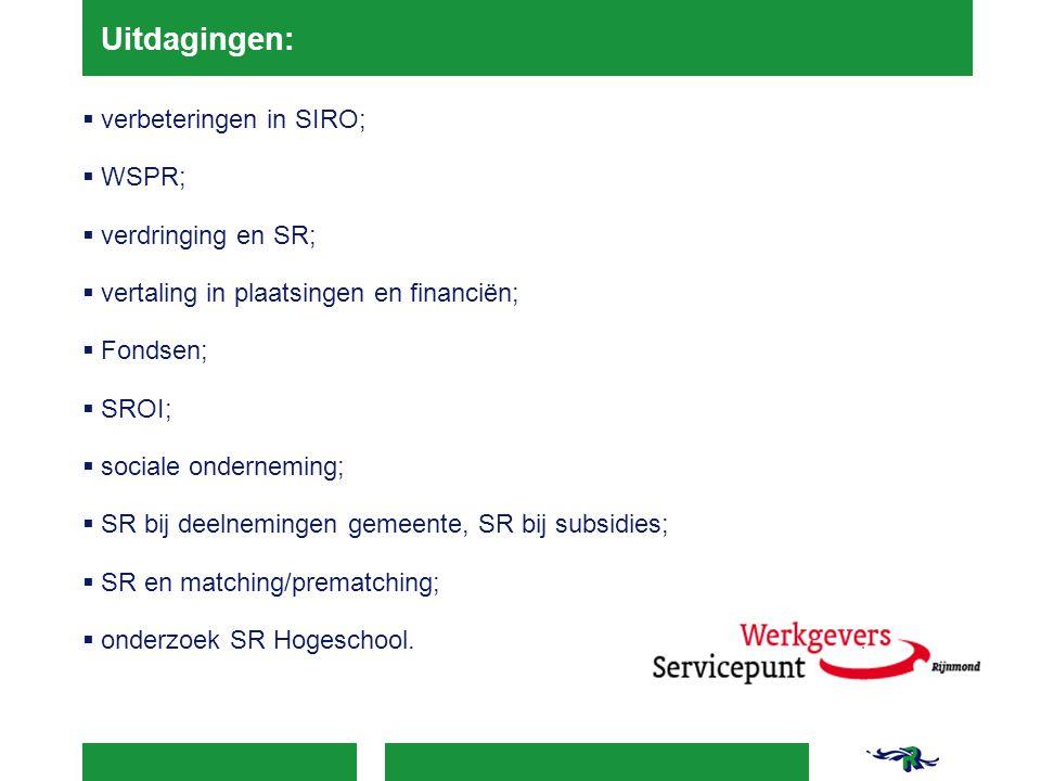 Uitdagingen:  verbeteringen in SIRO;  WSPR;  verdringing en SR;  vertaling in plaatsingen en financiën;  Fondsen;  SROI;  sociale onderneming;