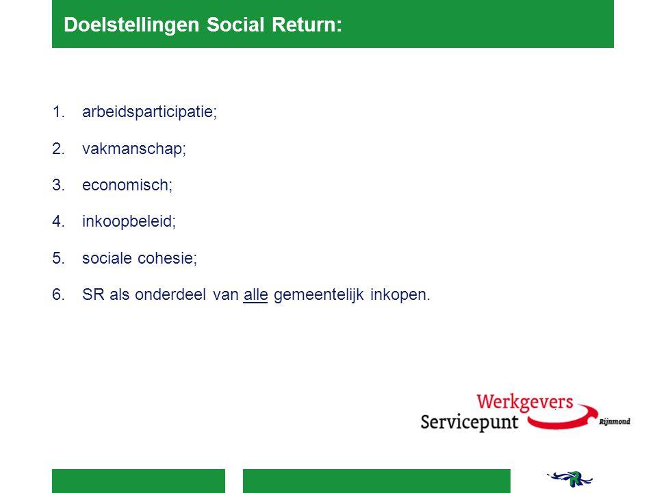 Doelstellingen Social Return: 1.arbeidsparticipatie; 2.vakmanschap; 3.economisch; 4.inkoopbeleid; 5.sociale cohesie; 6.SR als onderdeel van alle gemee