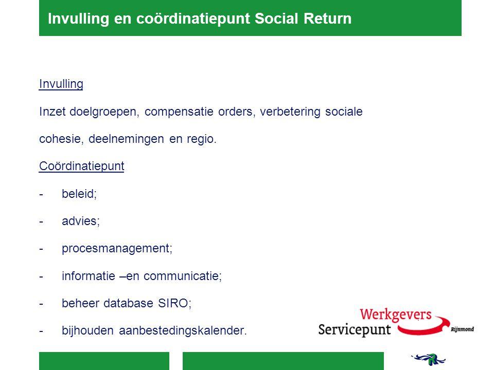 Invulling en coördinatiepunt Social Return Invulling Inzet doelgroepen, compensatie orders, verbetering sociale cohesie, deelnemingen en regio. Coördi