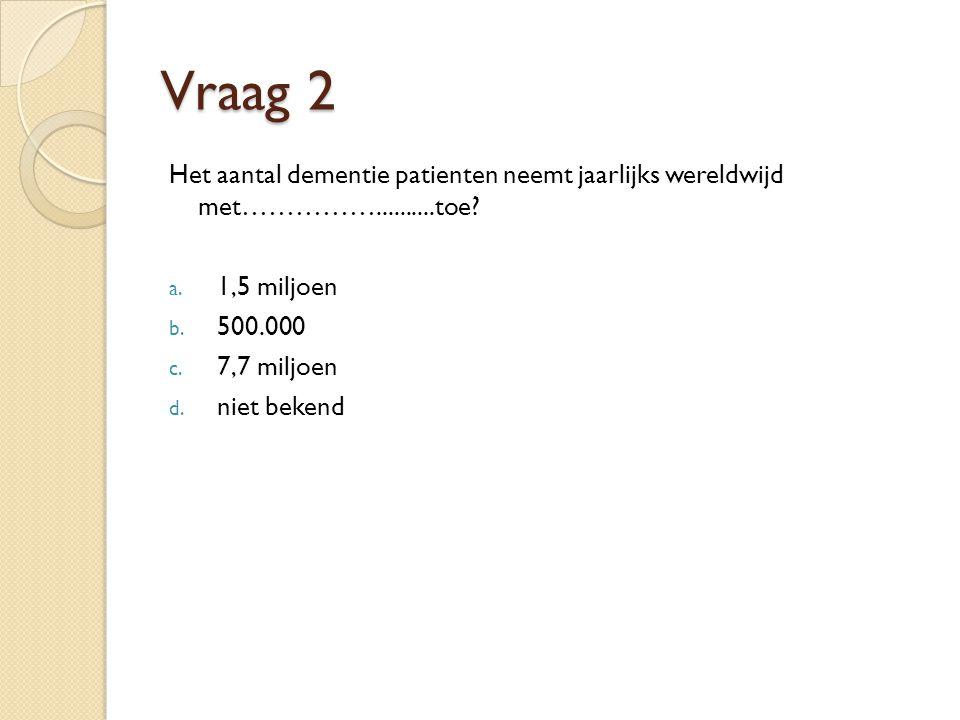 Vraag 2 Het aantal dementie patienten neemt jaarlijks wereldwijd met……………..........toe.