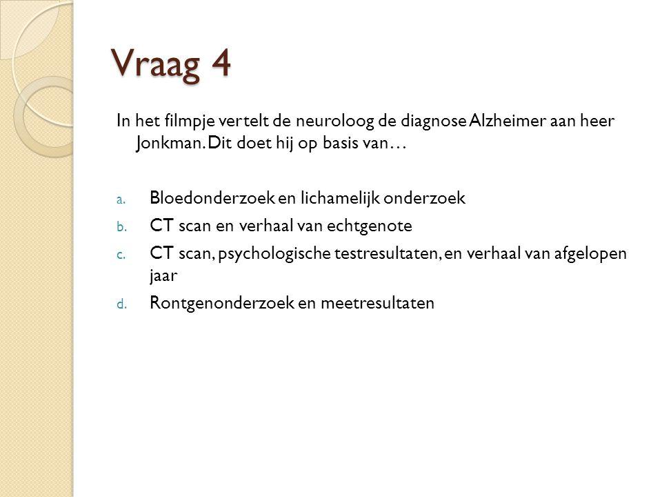 Vraag 4 In het filmpje vertelt de neuroloog de diagnose Alzheimer aan heer Jonkman.