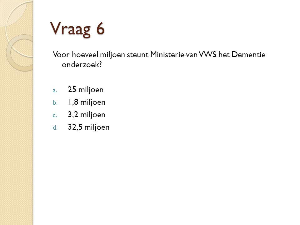 Vraag 6 Voor hoeveel miljoen steunt Ministerie van VWS het Dementie onderzoek.