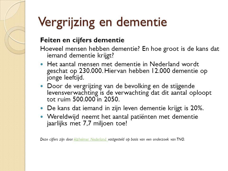Vergrijzing en dementie Feiten en cijfers dementie Hoeveel mensen hebben dementie.