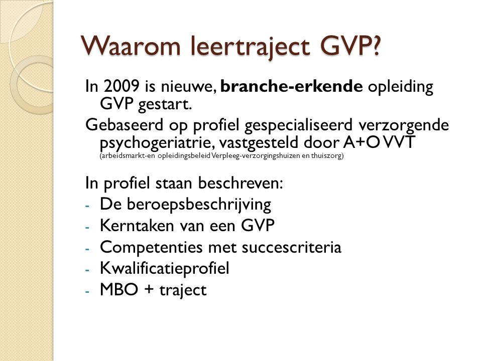 Waarom leertraject GVP.In 2009 is nieuwe, branche-erkende opleiding GVP gestart.