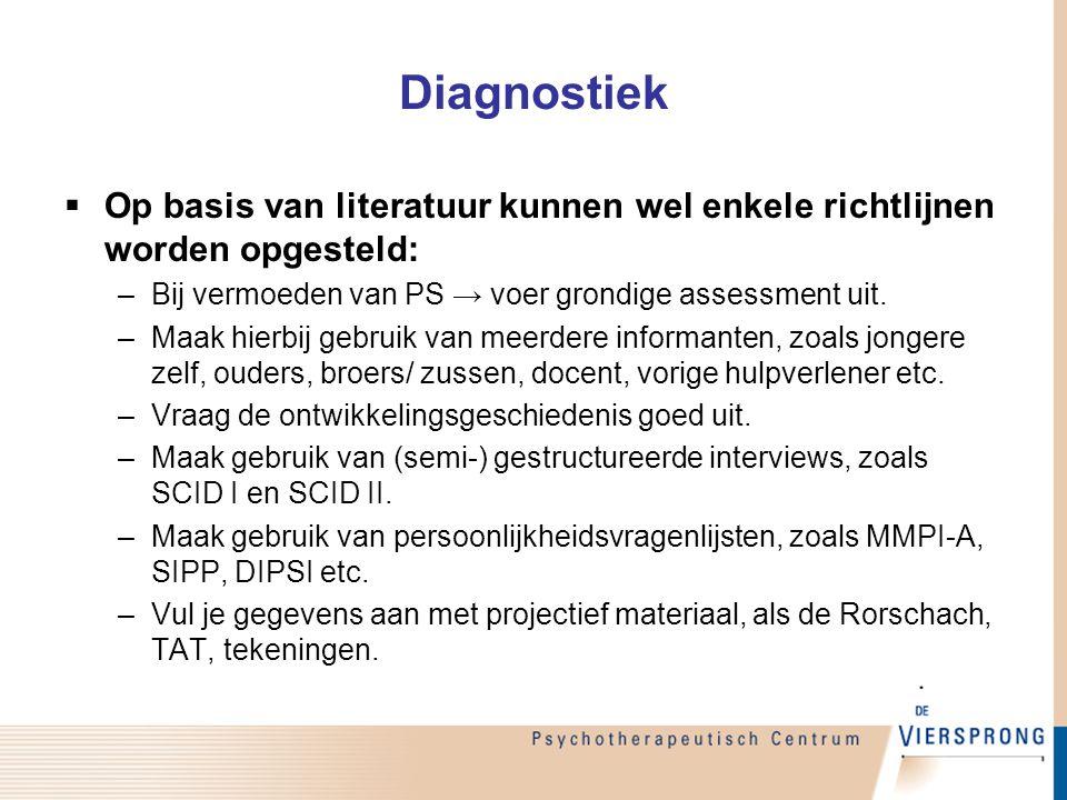 Diagnostiek  Op basis van literatuur kunnen wel enkele richtlijnen worden opgesteld: –Bij vermoeden van PS → voer grondige assessment uit. –Maak hier