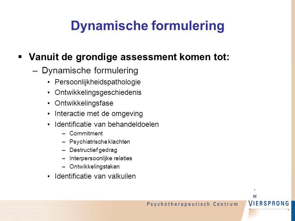 Dynamische formulering  Vanuit de grondige assessment komen tot: –Dynamische formulering Persoonlijkheidspathologie Ontwikkelingsgeschiedenis Ontwikk