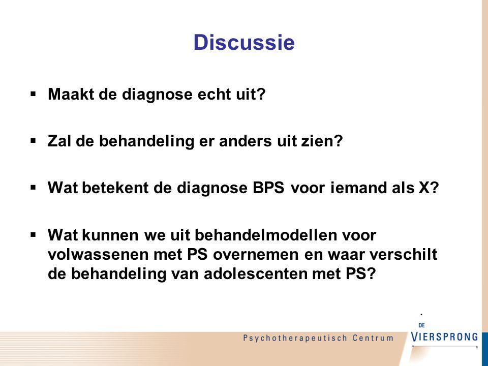 Discussie  Maakt de diagnose echt uit?  Zal de behandeling er anders uit zien?  Wat betekent de diagnose BPS voor iemand als X?  Wat kunnen we uit