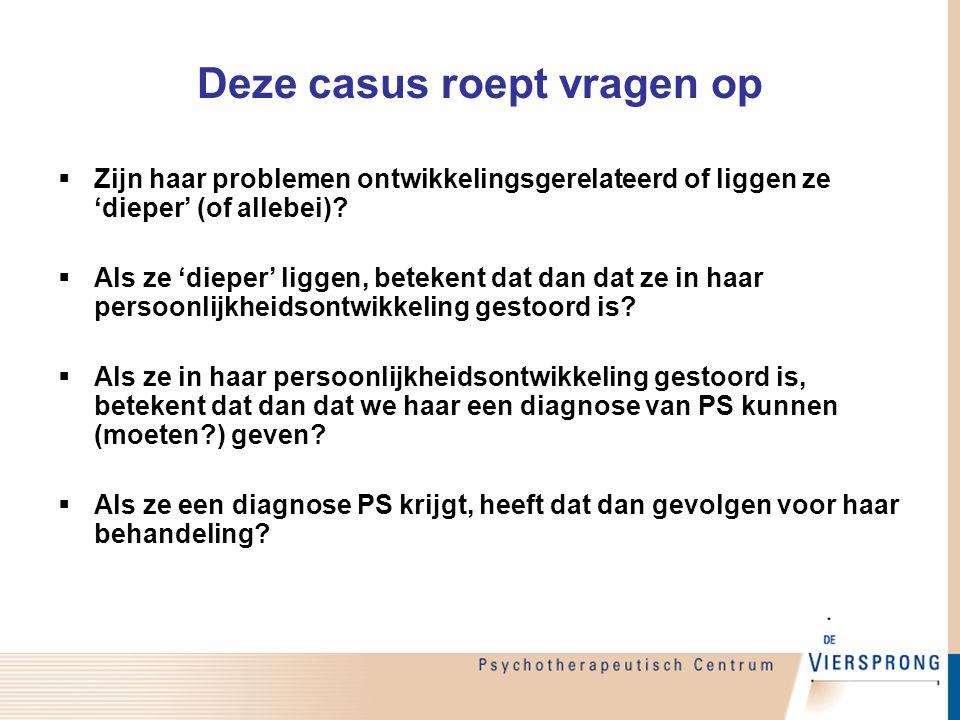 Deze casus roept vragen op  Zijn haar problemen ontwikkelingsgerelateerd of liggen ze 'dieper' (of allebei)?  Als ze 'dieper' liggen, betekent dat d