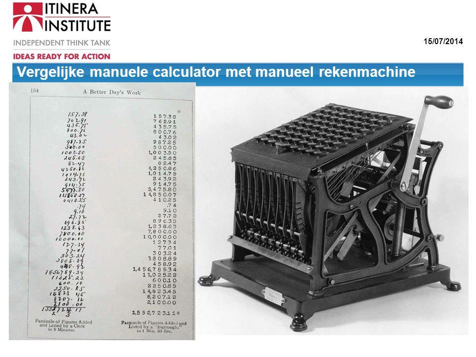 15/07/2014 Vergelijke manuele calculator met manueel rekenmachine