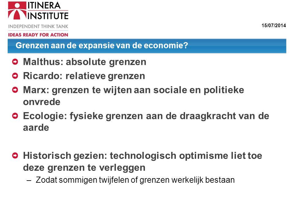 15/07/2014 Grenzen aan de expansie van de economie? Malthus: absolute grenzen Ricardo: relatieve grenzen Marx: grenzen te wijten aan sociale en politi