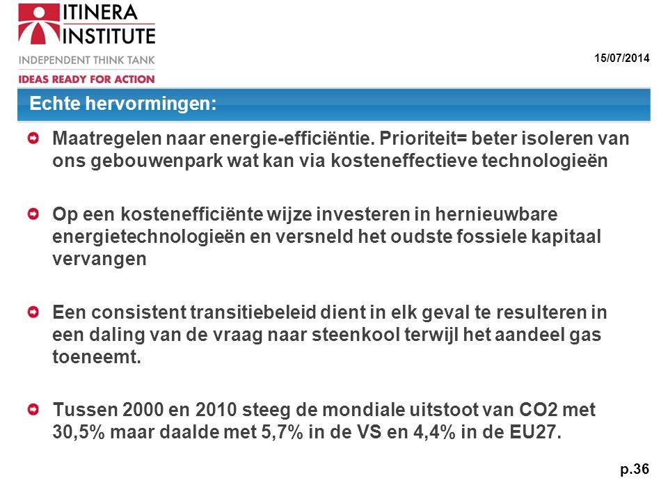 15/07/2014 p.36 Maatregelen naar energie-efficiëntie. Prioriteit= beter isoleren van ons gebouwenpark wat kan via kosteneffectieve technologieën Op ee