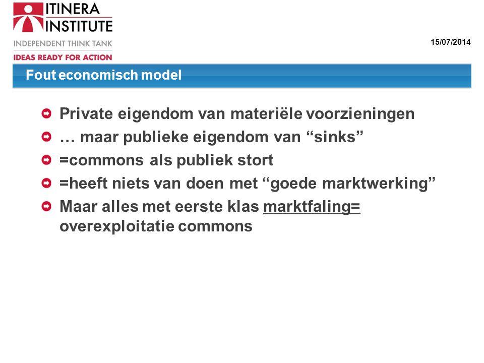 """15/07/2014 Private eigendom van materiële voorzieningen … maar publieke eigendom van """"sinks"""" =commons als publiek stort =heeft niets van doen met """"goe"""