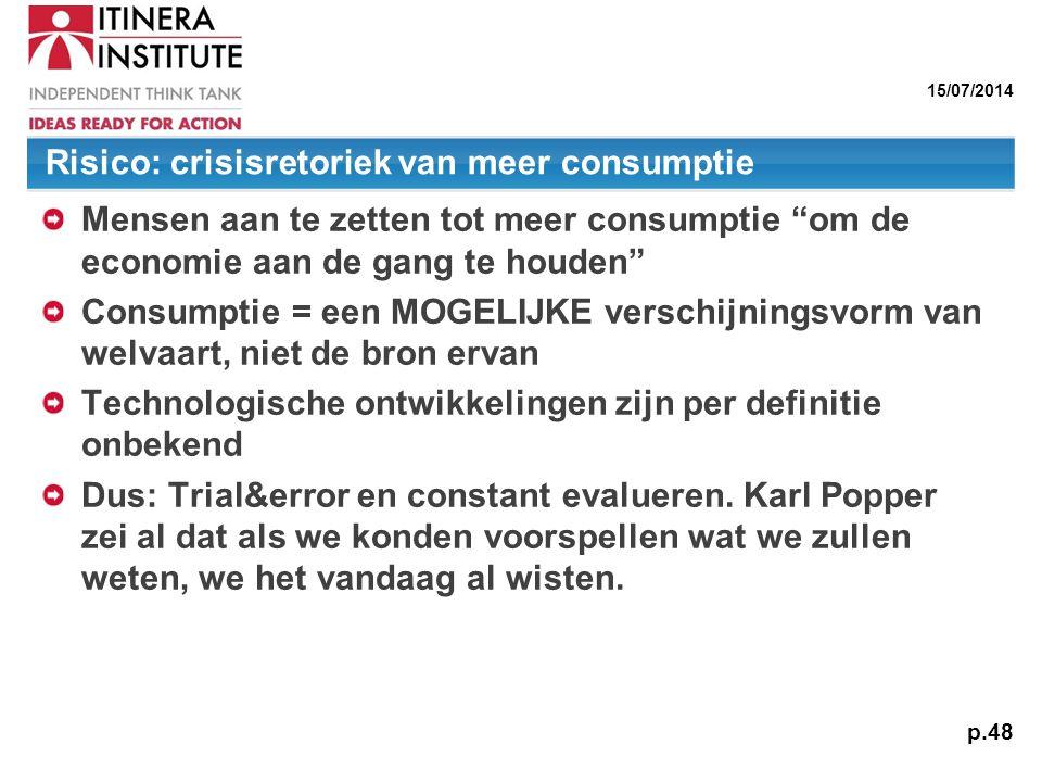"""15/07/2014 p.48 Risico: crisisretoriek van meer consumptie Mensen aan te zetten tot meer consumptie """"om de economie aan de gang te houden"""" Consumptie"""