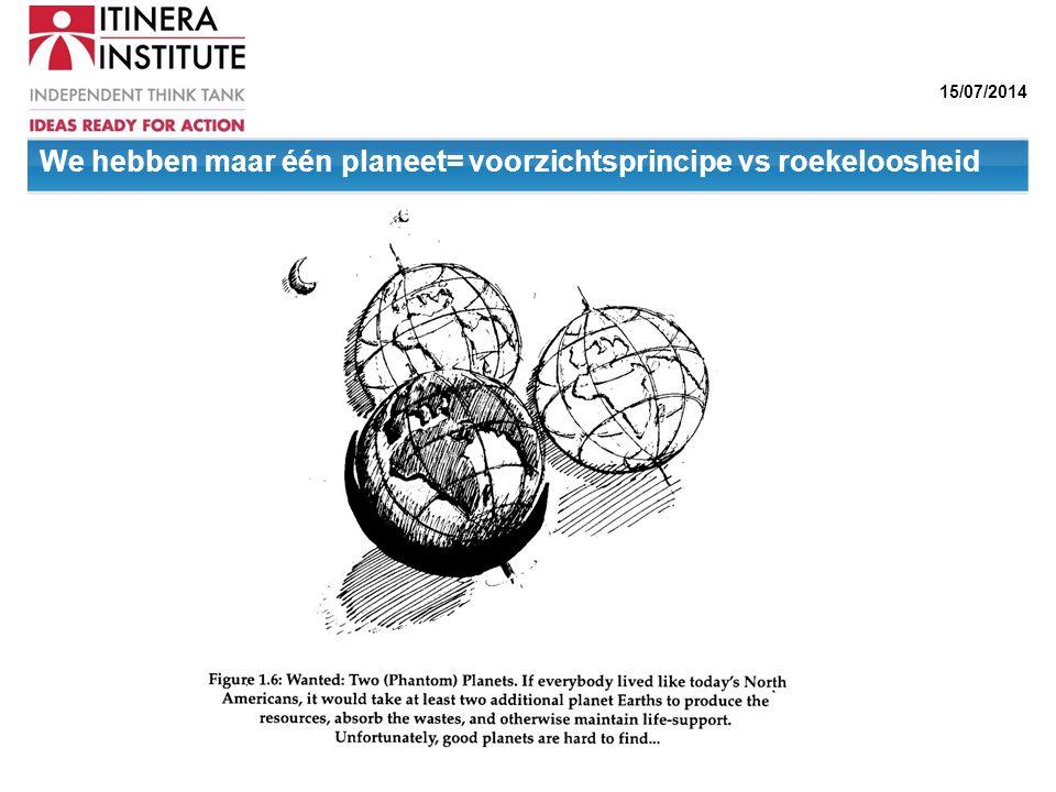 15/07/2014 We hebben maar één planeet= voorzichtsprincipe vs roekeloosheid