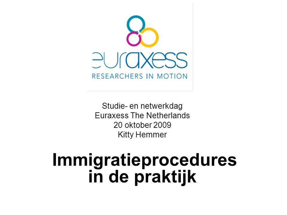Studie- en netwerkdag Euraxess The Netherlands 20 oktober 2009 Kitty Hemmer Immigratieprocedures in de praktijk
