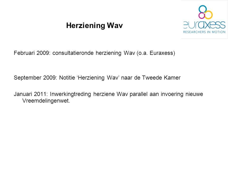 Herziening Wav Februari 2009: consultatieronde herziening Wav (o.a. Euraxess) September 2009: Notitie 'Herziening Wav' naar de Tweede Kamer Januari 20