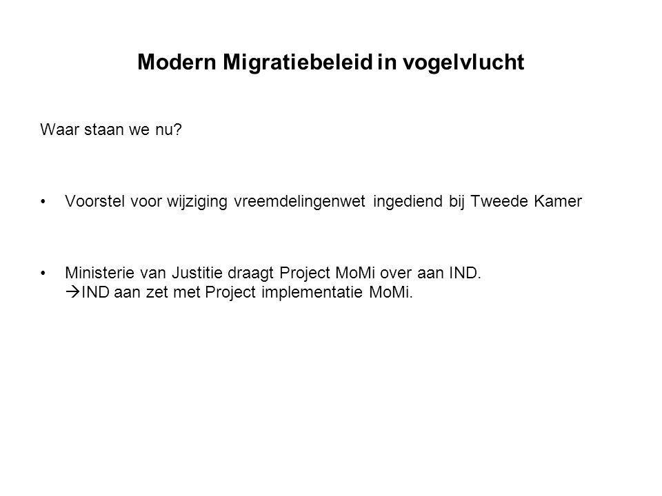 Modern Migratiebeleid in vogelvlucht Waar staan we nu? Voorstel voor wijziging vreemdelingenwet ingediend bij Tweede Kamer Ministerie van Justitie dra