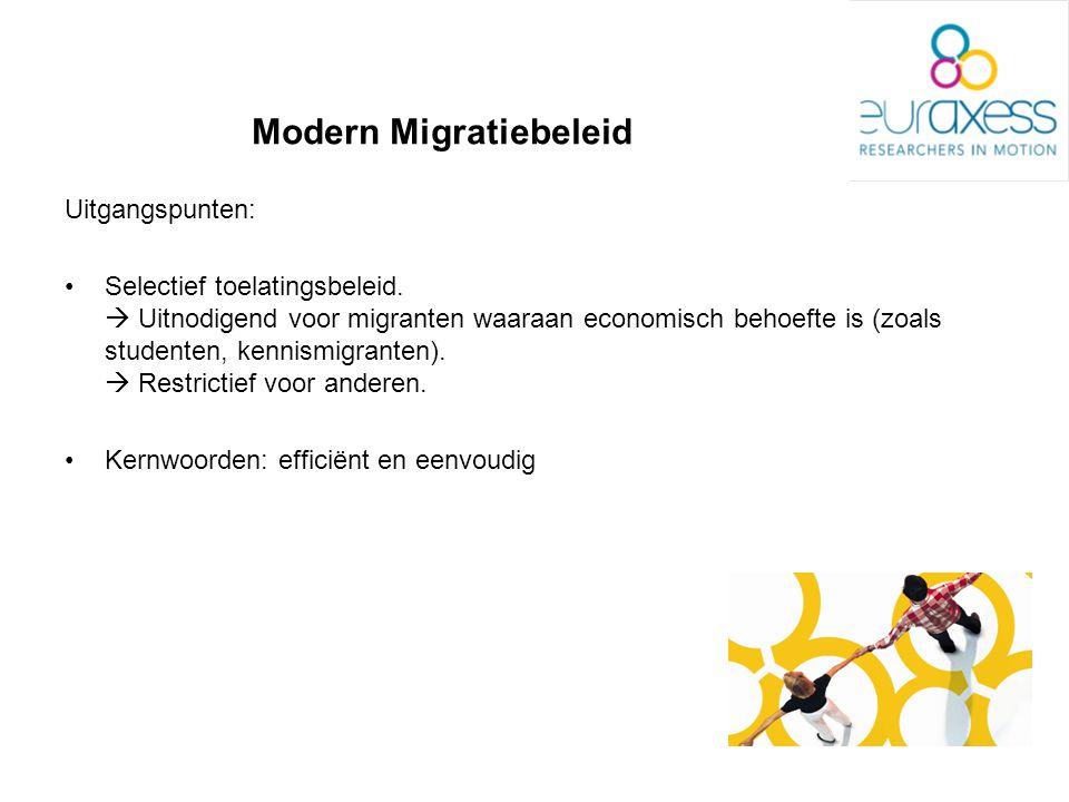 Modern Migratiebeleid Uitgangspunten: Selectief toelatingsbeleid.  Uitnodigend voor migranten waaraan economisch behoefte is (zoals studenten, kennis