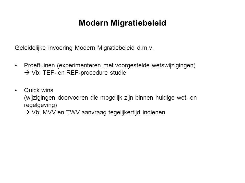 Modern Migratiebeleid Geleidelijke invoering Modern Migratiebeleid d.m.v. Proeftuinen (experimenteren met voorgestelde wetswijzigingen)  Vb: TEF- en