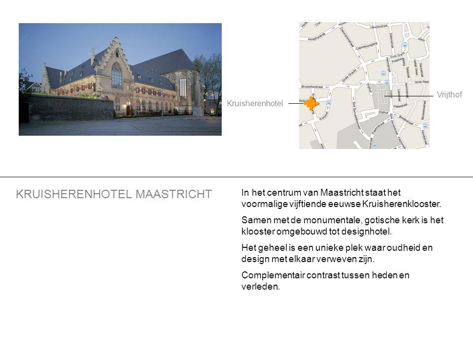 Vrijthof Kruisherenhotel In het centrum van Maastricht staat het voormalige vijftiende eeuwse Kruisherenklooster. Samen met de monumentale, gotische k