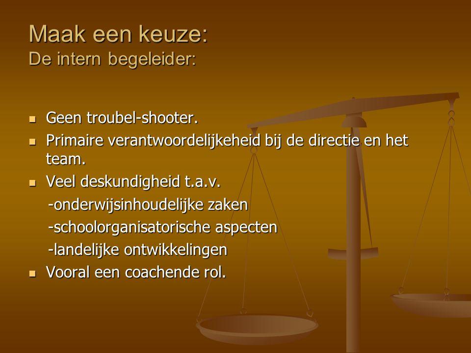 Maak een keuze: De intern begeleider: Geen troubel-shooter. Geen troubel-shooter. Primaire verantwoordelijkeheid bij de directie en het team. Primaire