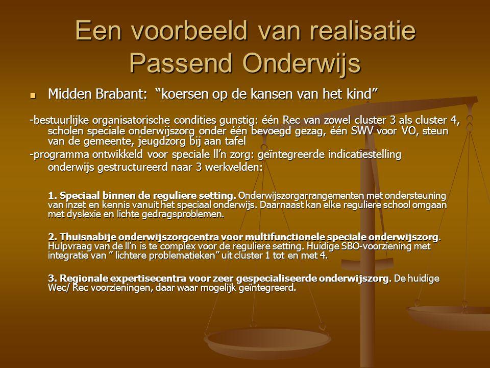 """Een voorbeeld van realisatie Passend Onderwijs Midden Brabant: """"koersen op de kansen van het kind"""" Midden Brabant: """"koersen op de kansen van het kind"""""""