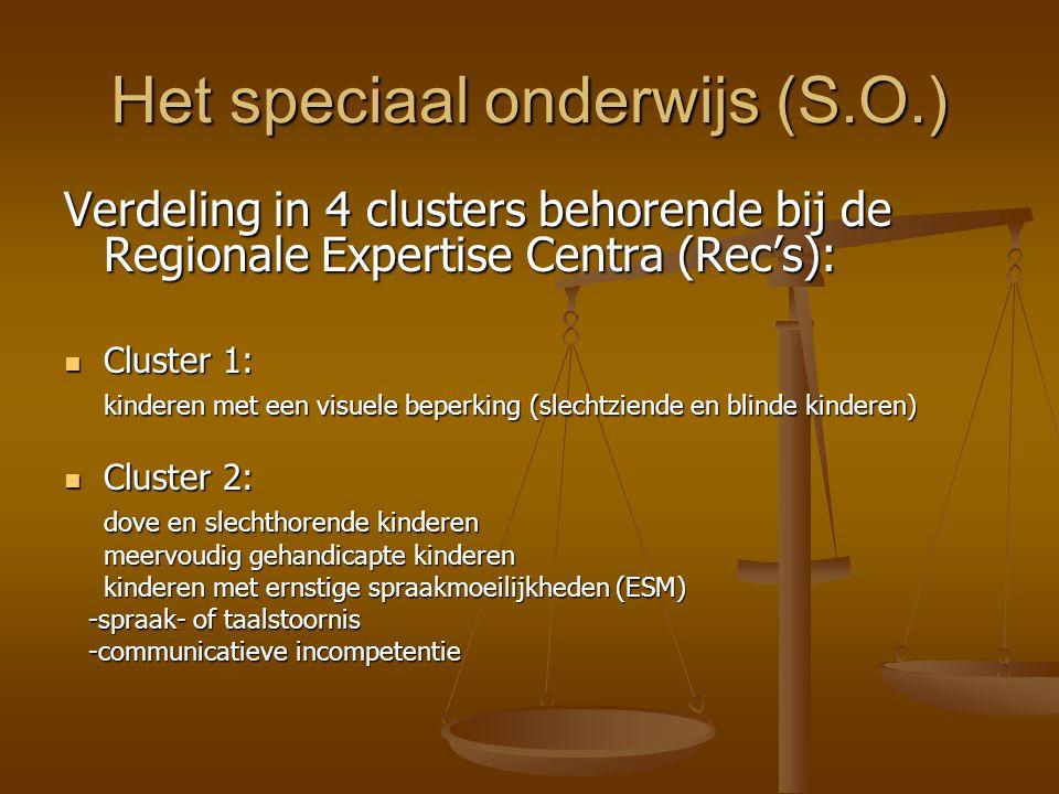 Het speciaal onderwijs (S.O.) Verdeling in 4 clusters behorende bij de Regionale Expertise Centra (Rec's): Cluster 1: Cluster 1: kinderen met een visu