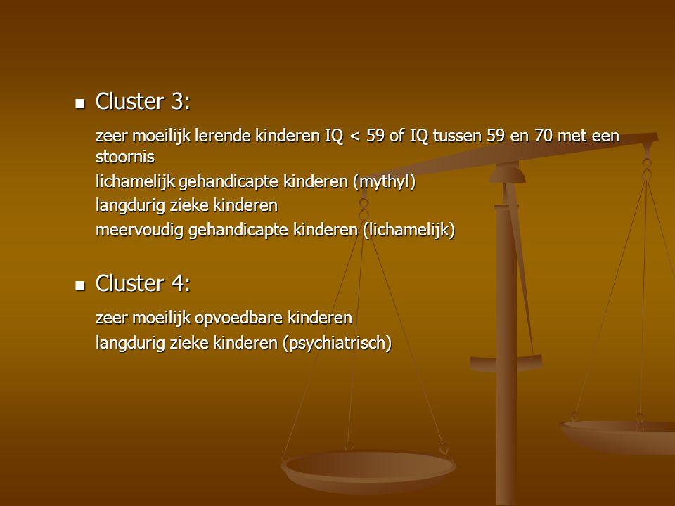 Cluster 3: Cluster 3: zeer moeilijk lerende kinderen IQ < 59 of IQ tussen 59 en 70 met een stoornis lichamelijk gehandicapte kinderen (mythyl) langdur
