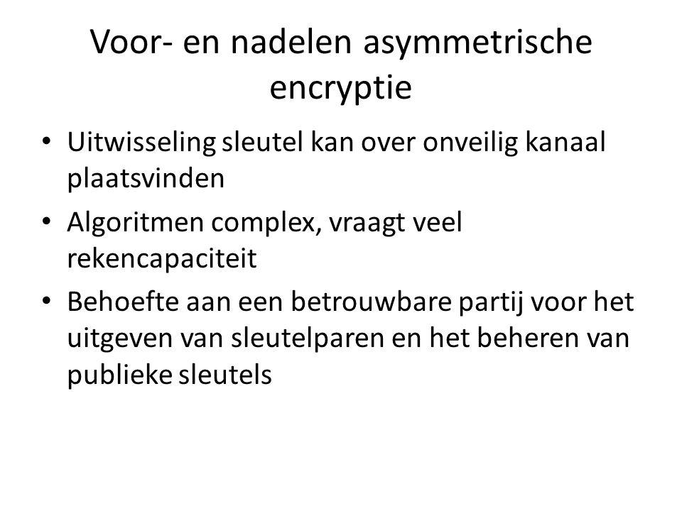 Voor- en nadelen asymmetrische encryptie Uitwisseling sleutel kan over onveilig kanaal plaatsvinden Algoritmen complex, vraagt veel rekencapaciteit Behoefte aan een betrouwbare partij voor het uitgeven van sleutelparen en het beheren van publieke sleutels