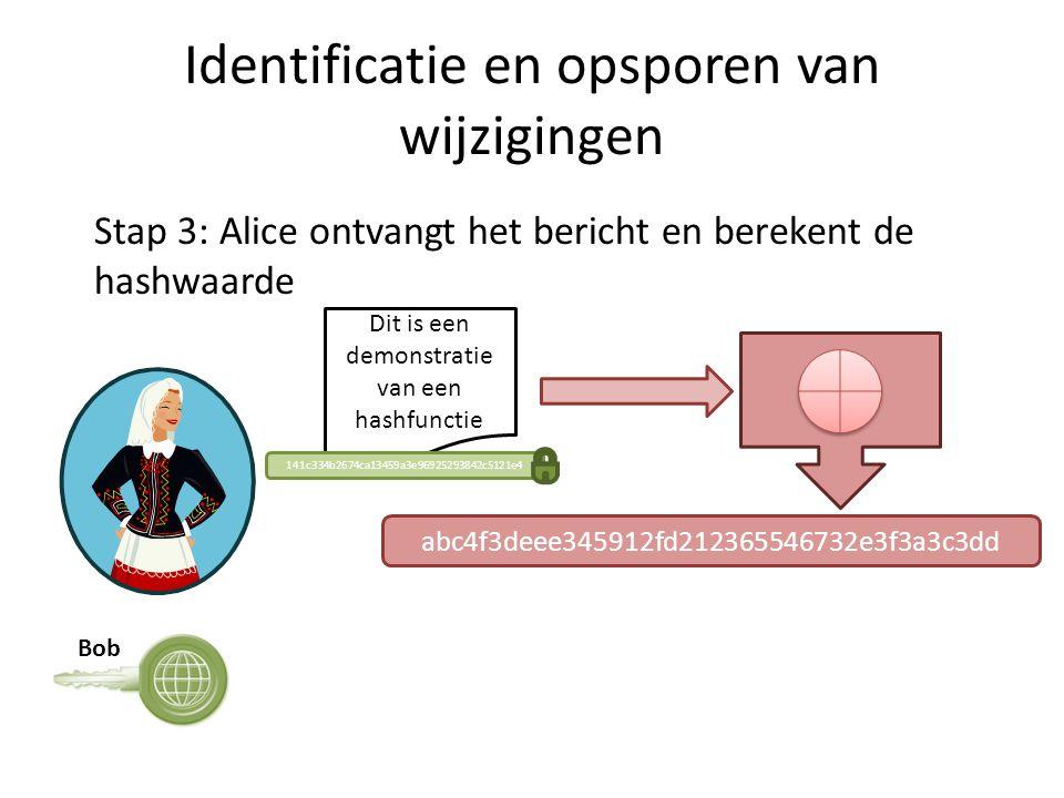 Identificatie en opsporen van wijzigingen Dit is een demonstratie van een hashfunctie Stap 3: Alice ontvangt het bericht en berekent de hashwaarde 141c334b2674ca13459a3e96925293842c5121e4 Bob abc4f3deee345912fd212365546732e3f3a3c3dd