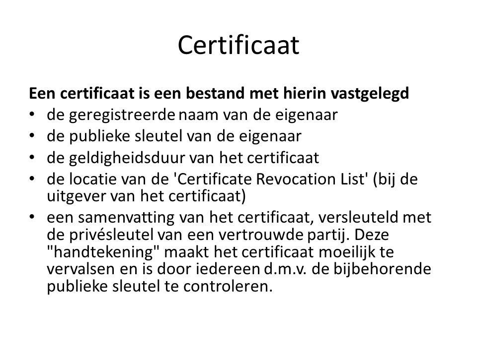 Certificaat Een certificaat is een bestand met hierin vastgelegd de geregistreerde naam van de eigenaar de publieke sleutel van de eigenaar de geldigheidsduur van het certificaat de locatie van de Certificate Revocation List (bij de uitgever van het certificaat) een samenvatting van het certificaat, versleuteld met de privésleutel van een vertrouwde partij.