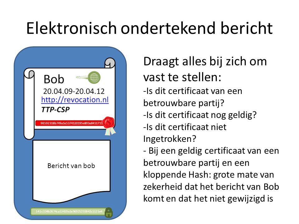 Elektronisch ondertekend bericht Bericht van bob 141c334b2674ca13459a3e96925293842c5121e4 Draagt alles bij zich om vast te stellen: -Is dit certificaat van een betrouwbare partij.