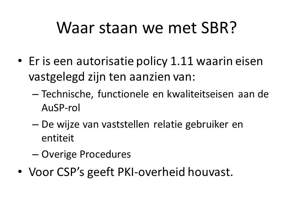 Waar staan we met SBR.