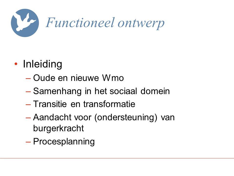 Functioneel ontwerp Inleiding –Oude en nieuwe Wmo –Samenhang in het sociaal domein –Transitie en transformatie –Aandacht voor (ondersteuning) van burg