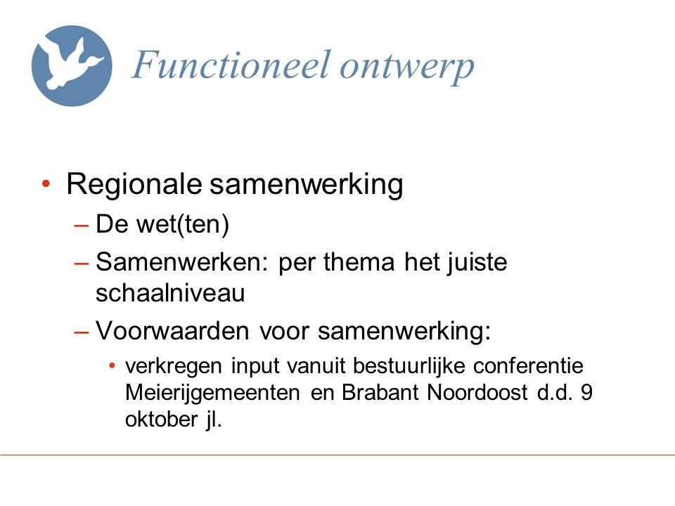 Functioneel ontwerp Regionale samenwerking –De wet(ten) –Samenwerken: per thema het juiste schaalniveau –Voorwaarden voor samenwerking: verkregen inpu