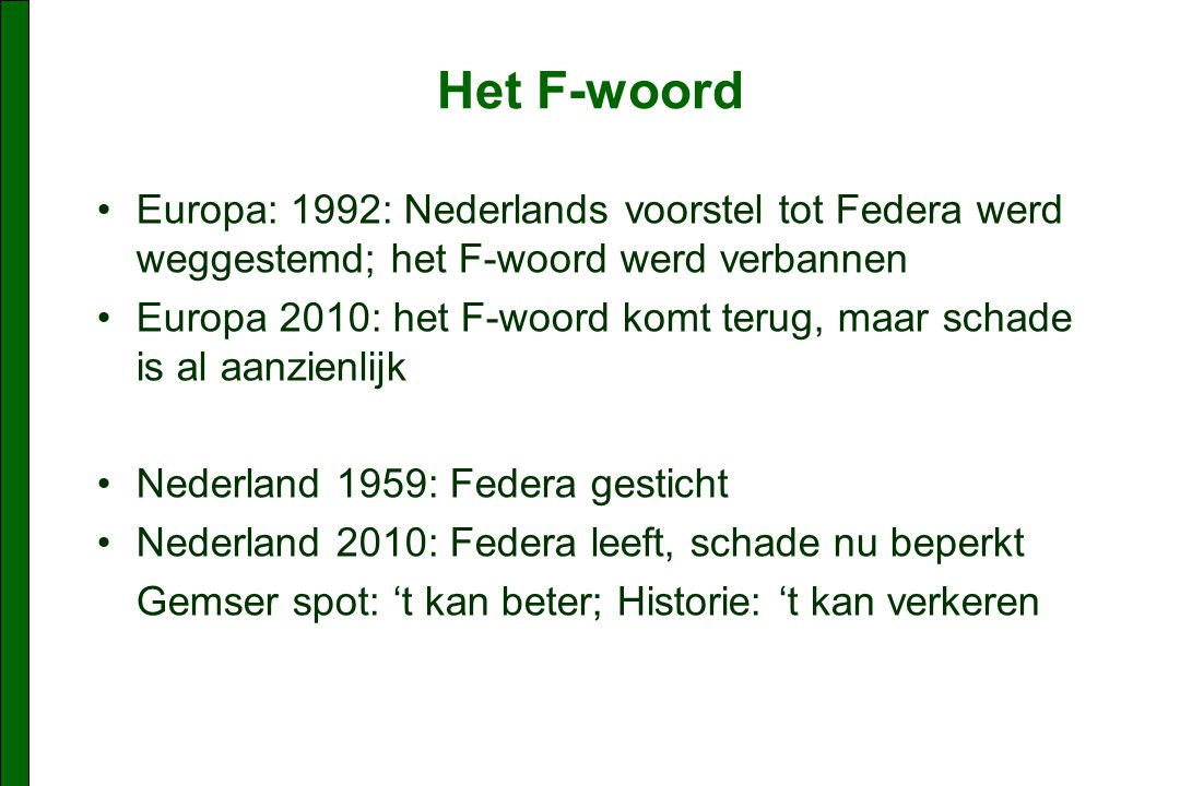 Het F-woord Europa: 1992: Nederlands voorstel tot Federa werd weggestemd; het F-woord werd verbannen Europa 2010: het F-woord komt terug, maar schade is al aanzienlijk Nederland 1959: Federa gesticht Nederland 2010: Federa leeft, schade nu beperkt Gemser spot: 't kan beter; Historie: 't kan verkeren