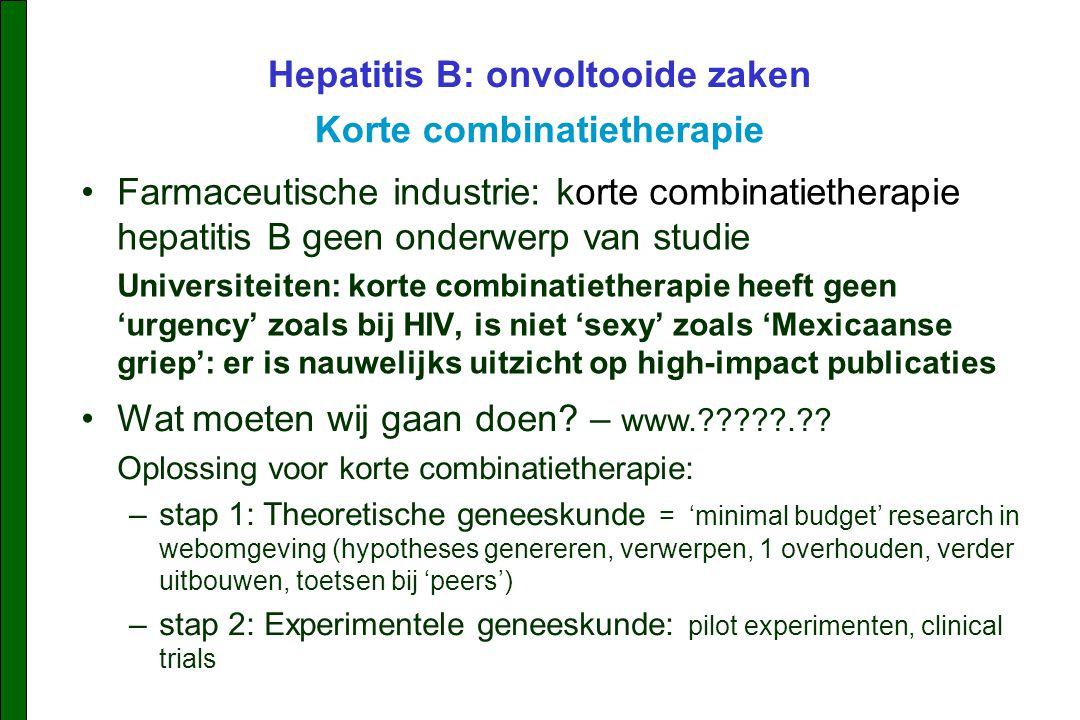 Farmaceutische industrie: korte combinatietherapie hepatitis B geen onderwerp van studie Universiteiten: korte combinatietherapie heeft geen 'urgency' zoals bij HIV, is niet 'sexy' zoals 'Mexicaanse griep': er is nauwelijks uitzicht op high-impact publicaties Hepatitis B: onvoltooide zaken Korte combinatietherapie Wat moeten wij gaan doen.