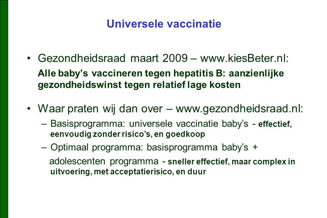 Gezondheidsraad maart 2009 – www.kiesBeter.nl: Alle baby's vaccineren tegen hepatitis B: aanzienlijke gezondheidswinst tegen relatief lage kosten Universele vaccinatie Waar praten wij dan over – www.gezondheidsraad.nl: –Basisprogramma: universele vaccinatie baby's - effectief, eenvoudig zonder risico's, en goedkoop –Optimaal programma: basisprogramma baby's + adolescenten programma - sneller effectief, maar complex in uitvoering, met acceptatierisico, en duur