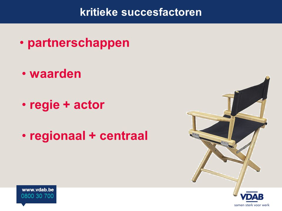www.vdab.be 0800 30 700 www.vdab.be 0800 30 700 kritieke succesfactoren partnerschappen waarden regionaal + centraal regie + actor