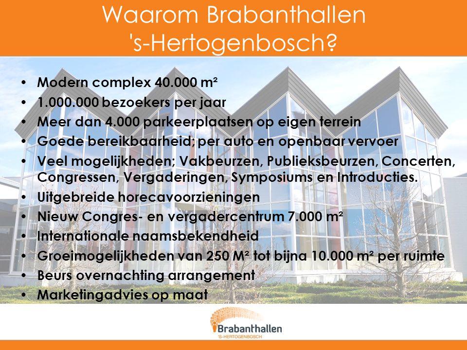 Waarom Brabanthallen 's-Hertogenbosch? Modern complex 40.000 m² 1.000.000 bezoekers per jaar Meer dan 4.000 parkeerplaatsen op eigen terrein Goede ber
