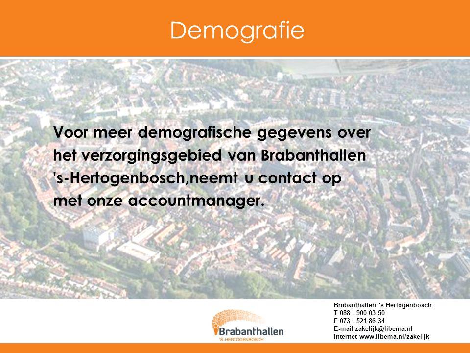 Demografie Voor meer demografische gegevens over het verzorgingsgebied van Brabanthallen 's-Hertogenbosch,neemt u contact op met onze accountmanager.