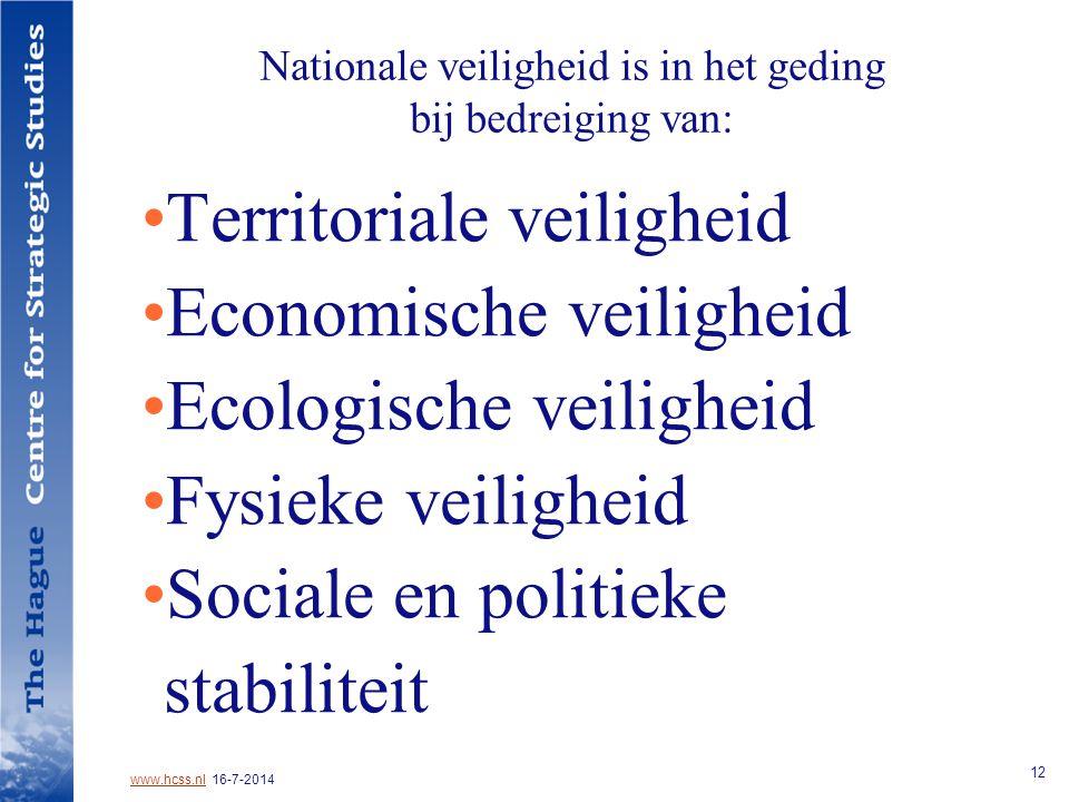 www.hcss.nlwww.hcss.nl 16-7-2014 12 Nationale veiligheid is in het geding bij bedreiging van: Territoriale veiligheid Economische veiligheid Ecologische veiligheid Fysieke veiligheid Sociale en politieke stabiliteit