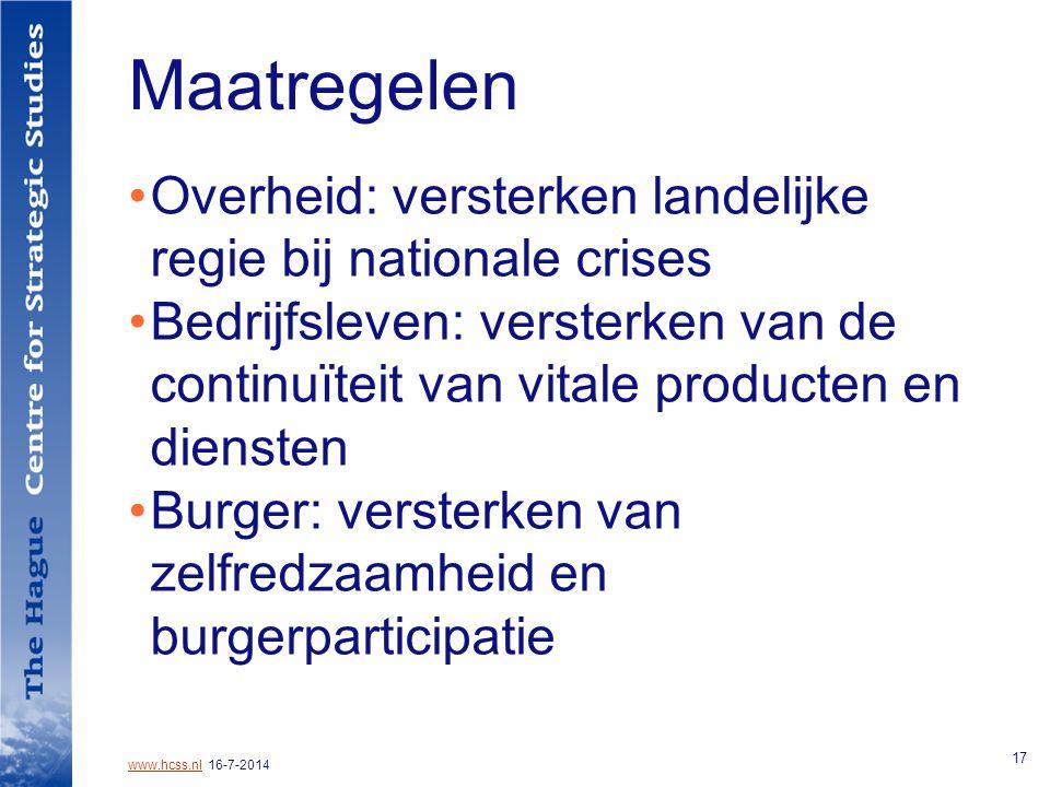www.hcss.nlwww.hcss.nl 16-7-2014 17 Maatregelen Overheid: versterken landelijke regie bij nationale crises Bedrijfsleven: versterken van de continuïteit van vitale producten en diensten Burger: versterken van zelfredzaamheid en burgerparticipatie