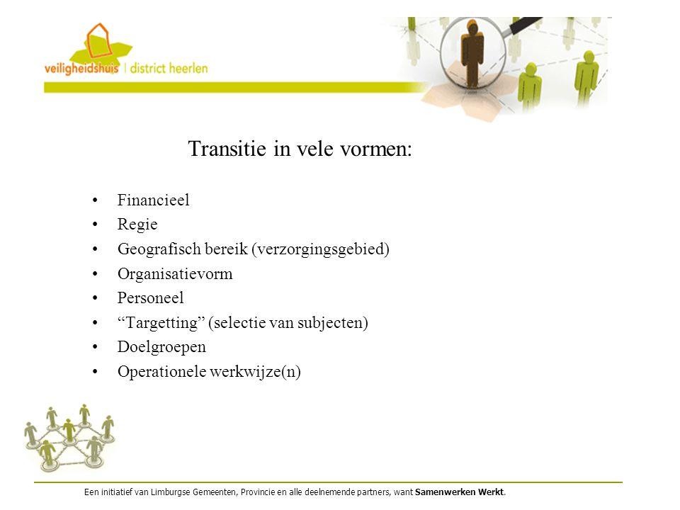 """Financieel Regie Geografisch bereik (verzorgingsgebied) Organisatievorm Personeel """"Targetting"""" (selectie van subjecten) Doelgroepen Operationele werkw"""